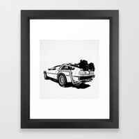 DeLorean / BW Framed Art Print