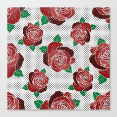 rose & dots pattern Canvas Print