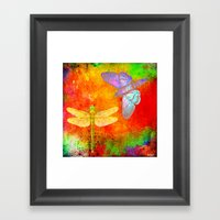 The Dragonfly and the Butterfly Framed Art Print