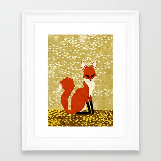 fox on flowers Framed Art Print