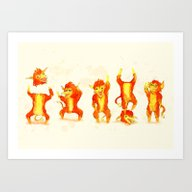 Art Print featuring Fire Gang  by Ludwig Van Bacon