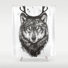 Deer wolf (b&w) Shower Curtain