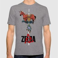 Zelda/Akira Mens Fitted Tee Tri-Grey SMALL