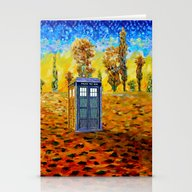 Tardis At Fall Grass Fie… Stationery Cards