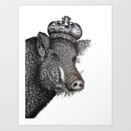 Art Print featuring The Boar King by ECMazur