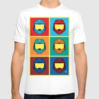 Warhol's Red Vs Blue Mens Fitted Tee White SMALL