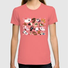 Dog pattern Womens Fitted Tee Pomegranate SMALL