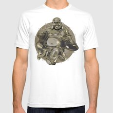 Laughing Buddha II White Mens Fitted Tee SMALL