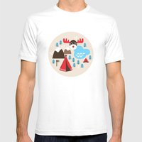 Scandinavian retro moose pattern Mens Fitted Tee White SMALL