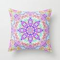 Pink, Orange, Purple, and Cyan Kaleidoscope Throw Pillow