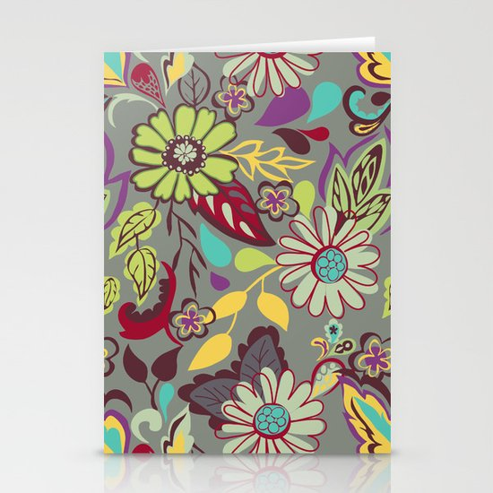 Large Bright Blooms Stationery Card