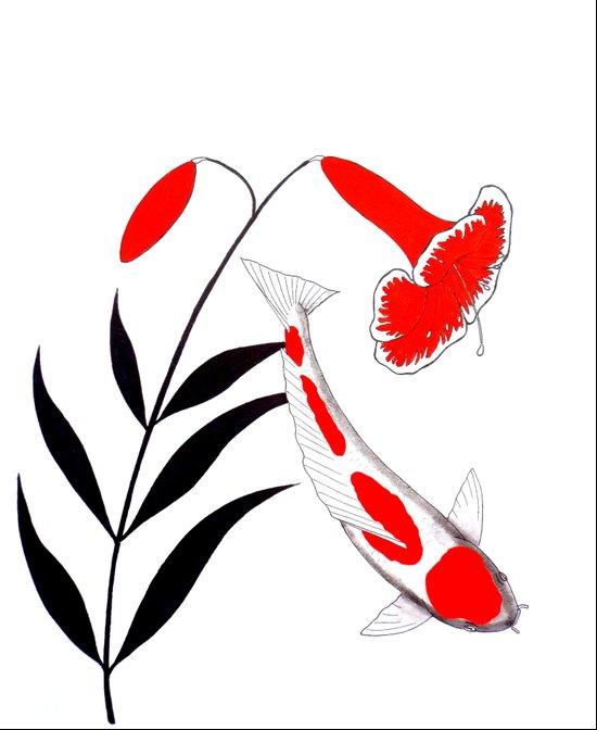 Japanese Koi Kohaku Lily Art Print