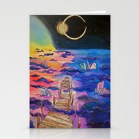 space clouds crystals  Stationery Cards