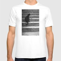 Black Cat Mens Fitted Tee White SMALL