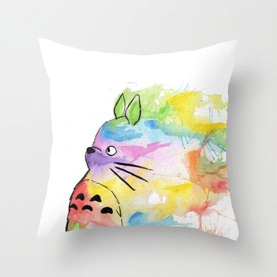 My Rainbow Totoro Throw Pillow by Scoobtoobins