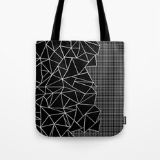 Abstract Grid Outline White on Black on Side Tote Bag
