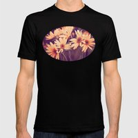 Gold Floral Mens Fitted Tee Black SMALL