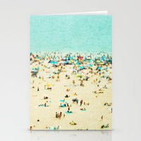 retro Stationery Cards featuring Coney Island Beach by Mina Teslaru