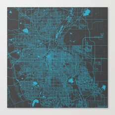 Denver Blue Map Canvas Print