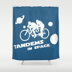 Tandems in Space in Blue Shower Curtain