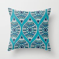 Morocco In Teal Throw Pillow