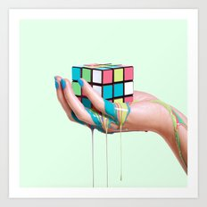 MELTING RUBIKS CUBE Art Print