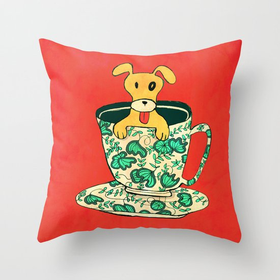 Dinnerware Sets - puppy in a teacup Throw Pillow