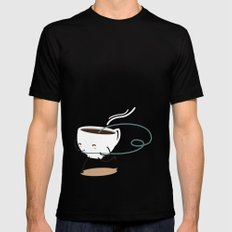 Seb, the cup of coffee SMALL Black Mens Fitted Tee