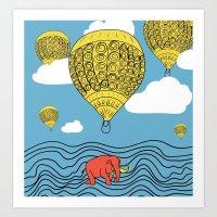 Mastodon Walking Art Print