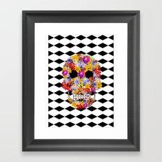 black,white,flower,skull Framed Art Print