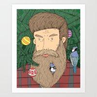 Christmas man Art Print