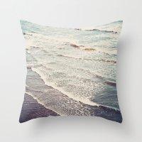 Ocean Waves Retro Throw Pillow