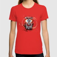 The Owl Womens Fitted Tee Red SMALL