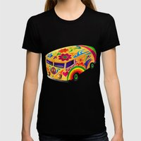 The Flower Power Mini Bu… Womens Fitted Tee Black SMALL