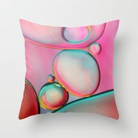 Oil Bubbles Abstract Throw Pillow