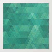 Aquamarine geometric triangle pattern Canvas Print