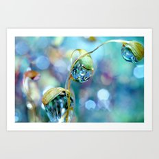 Rainbow Moss Drops Art Print