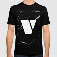 Black Marble - Alphabet V Mens Fitted Tee Black SMALL