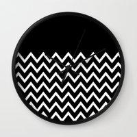 White Chevron On Black Wall Clock