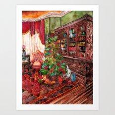 Bibliophile's Christmas Art Print