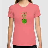 Green Tea Womens Fitted Tee Pomegranate SMALL