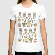Potted Succulents Womens Fitted Tee White SMALL