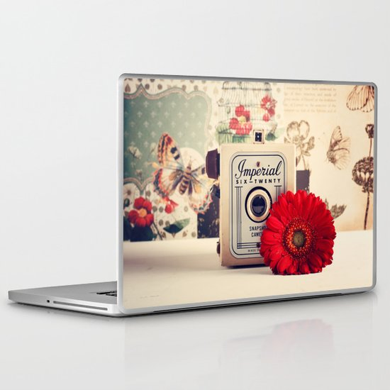 Retro Camera and Red Flower (Retro and Vintage Still Life Photography) Laptop & iPad Skin