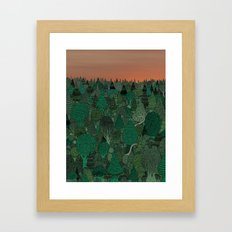 Two dinosaurs looking for each other in a forest... Framed Art Print