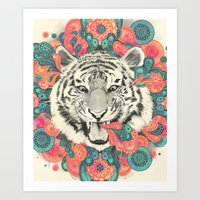 mandala Art Prints featuring bengal mandala by Laura Graves
