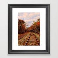 Fall On The Tracks Framed Art Print