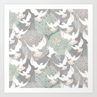 Doves And Flowers Art Print