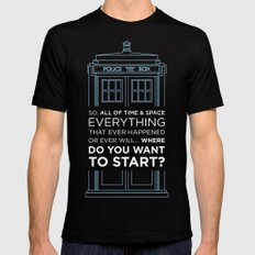 Doctor Who - TARDIS Where Do You Want to Start Mens Fitted Tee Black SMALL
