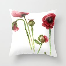 Red Poppies - Botanical Art - watercolor Throw Pillow