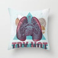 Throw Pillow featuring TRY NOT TO BREATHE by Nazario Graziano